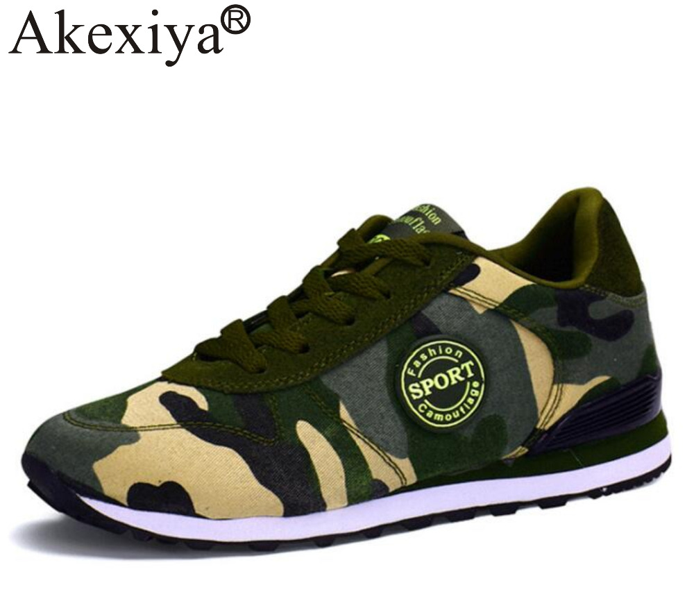 Akexiya Lovers Canvas Shoes Camouflage Military Men Running Shoes Autumn Breathable Women Flats Chaussure Femme