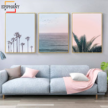 Modern Home Decor Coastal Wall Art Prints Palm Trees Ocean Canvas Painting Tropical Posters Nordic Wall Pictures for Living Room(China)