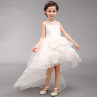 Girls Flower Girl Dress For Wedding Party Pearl Decorated White Fancy Tiered Girls Party Dresses For