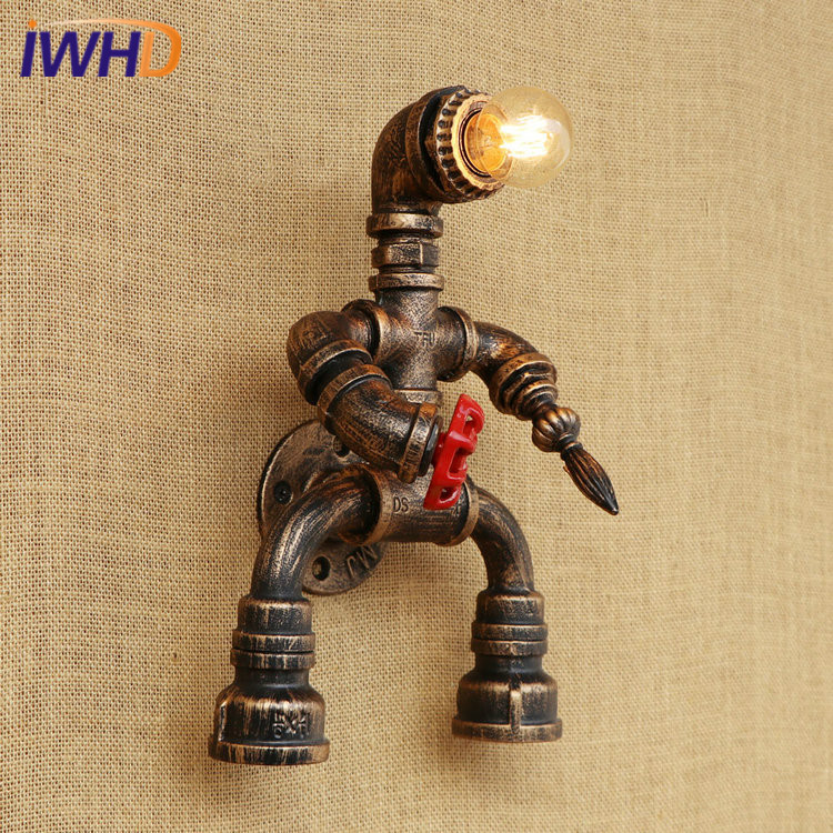 Здесь продается  Iron Robot Water Pipe Loft Style Wall Lamp Vintage Industrial Wall Light Fixtures For Home Lightings Applique Murale Luminaire  Свет и освещение