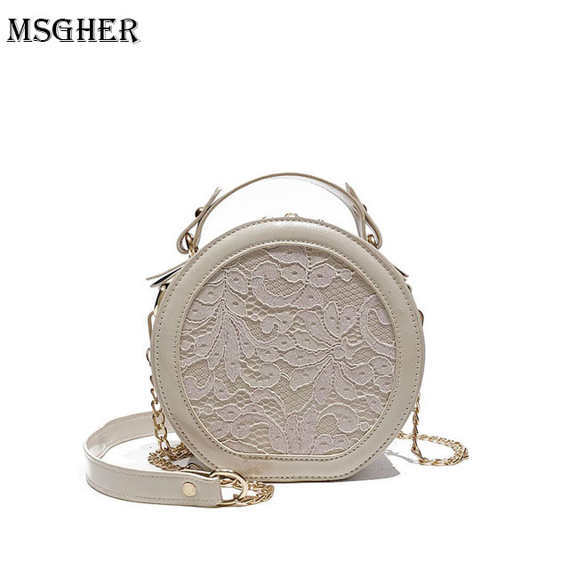 M.S Lace Patchwork Embroidery Round Bag Female Solid Elegant Patent Leather Handbags Casual Floral Totes Circular Handbag WB478