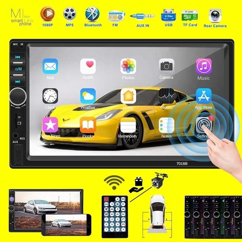 "2 Din Auto Radio 7 ""HD Autoradio Multimedia Player 2DIN de pantalla táctil Auto Audio estéreo de coche MP5 Bluetooth TF USB FM Cámara Android"