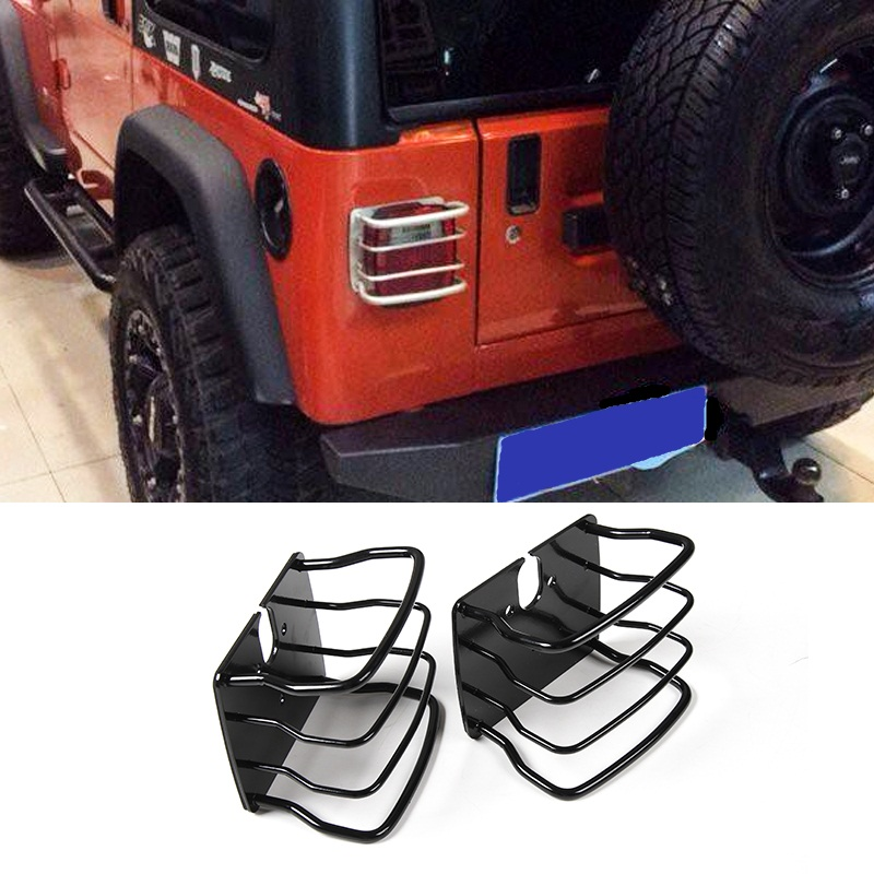 MOPAI Metal Car Exterior Rear Tail Light Lamp Cover Protection Decoration for Jeep Wrangler TJ 1997-2006 Car Accessoris Styling mopai new arrival car exterior rear triangle glass decoration cover stickers for jeep compass 2017 up car styling