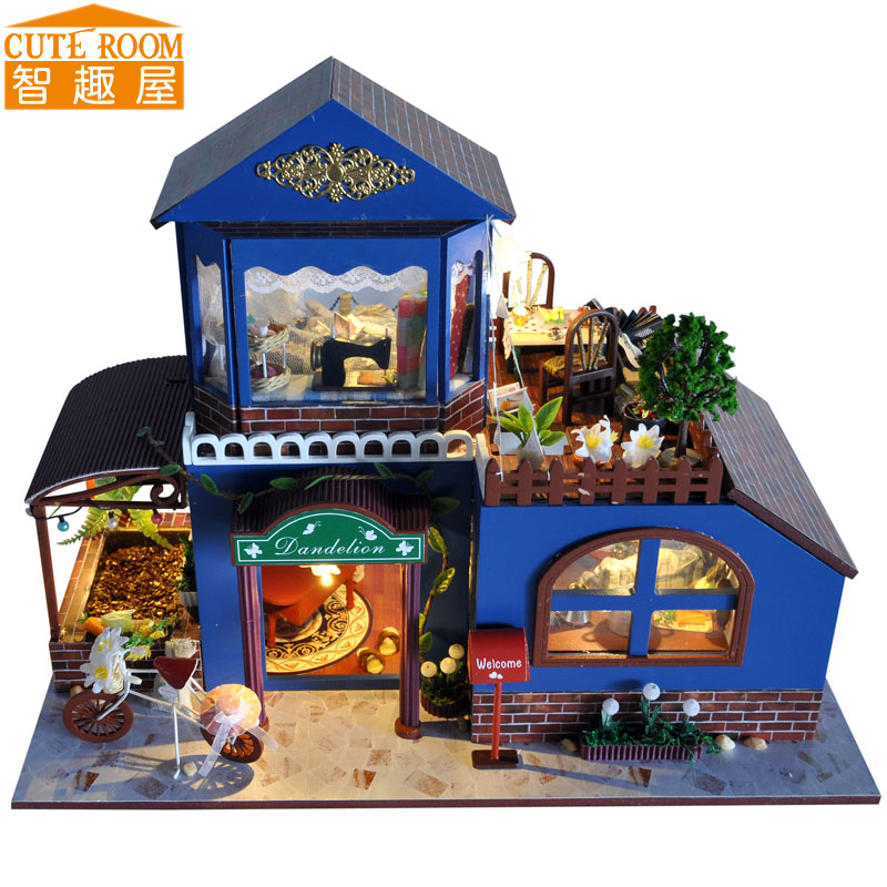 Assemble DIY Doll House Toy Wooden Miniatura Doll Houses Miniature Dollhouse toys With Furniture LED Lights Birthday Gift TB7 handmade doll house furniture miniatura diy building kits miniature dollhouse wooden toys for children birthday gift craft
