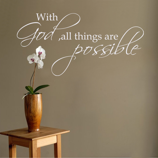 with god all things are possible religious wall decal bible verse