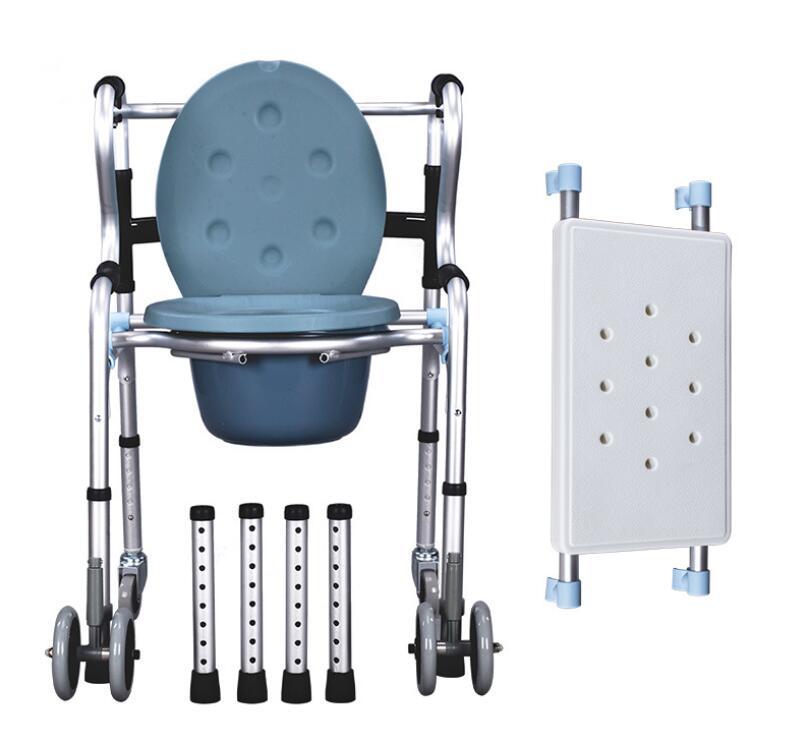 Chaise de salle de bains portative de chaise de pot de chaise de Commode de double usage avec des roues et le siège