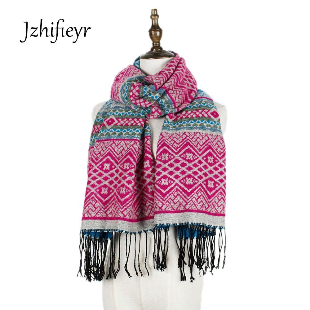 Jzhifiyer YX134scarves acrylique vintage géométrique écharpe d hiver dames  châles hijabs femmes écharpes sashion capes écharpe de luxe 7dce963e694