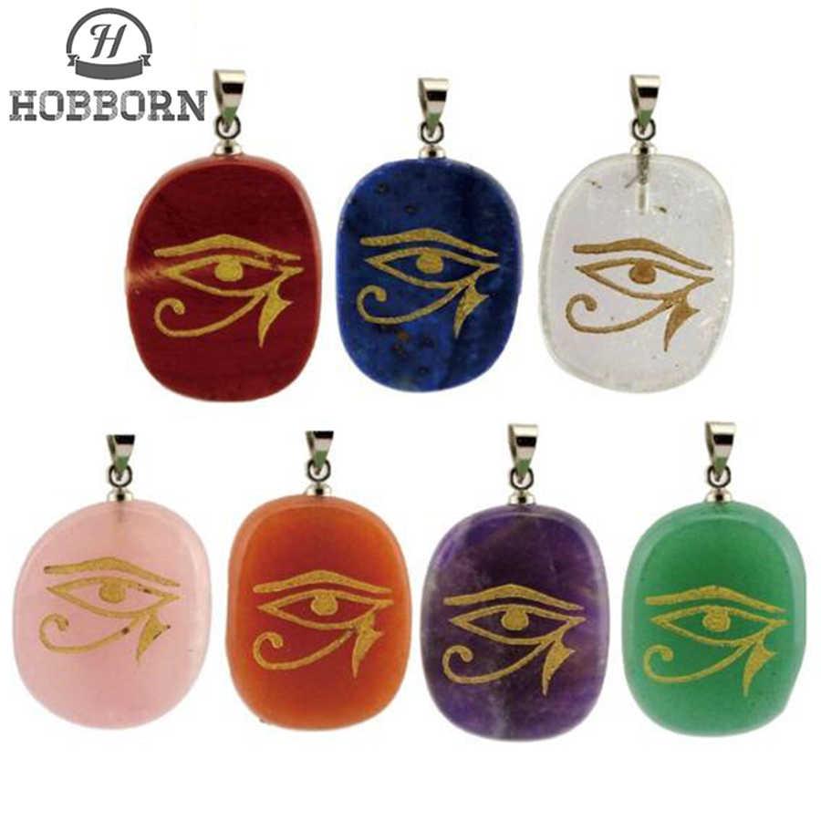 HOBBORN Rah Egypt Eye of Horus Energy Necklace Women Men