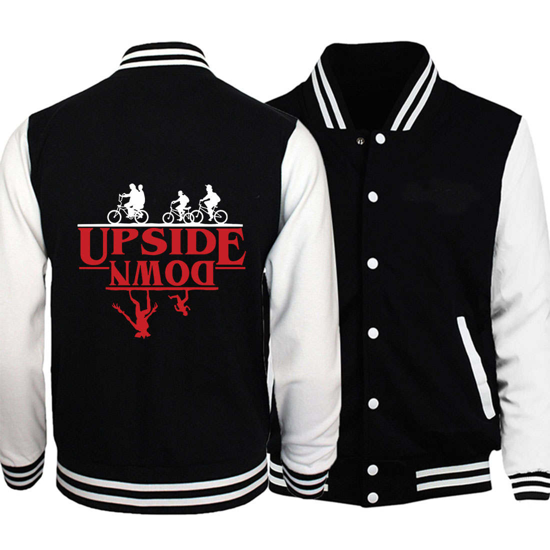 Plus Size Fitness Coats Fashion Hoodies 2019 New Stranger Things Baseball Jackets Funny Deadpool Printing Sweatshirts Men S-5XL