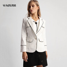 2017 Blazer Women Autumn Winter Fashion Solid Color Short Blazer Office Suit Black And White Casual Blazers Plus Size C05