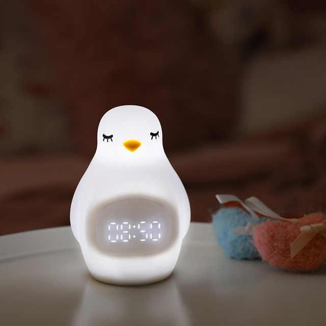 Lampu Malam LED Penguin Outlook Jam Alarm Lembut Silikon Lucu Bangun Lampu untuk Anak-anak Kabel USB