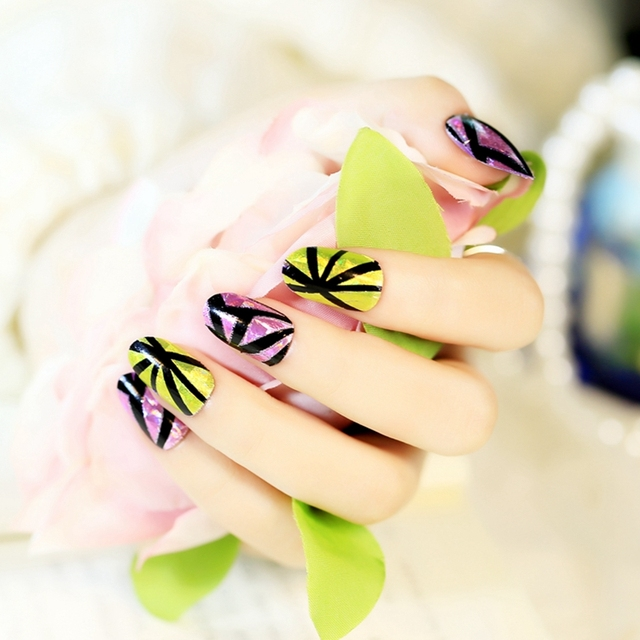 Full Wrap Nails Foil Patch Adhesive Nails Art Stickers Triangle ...