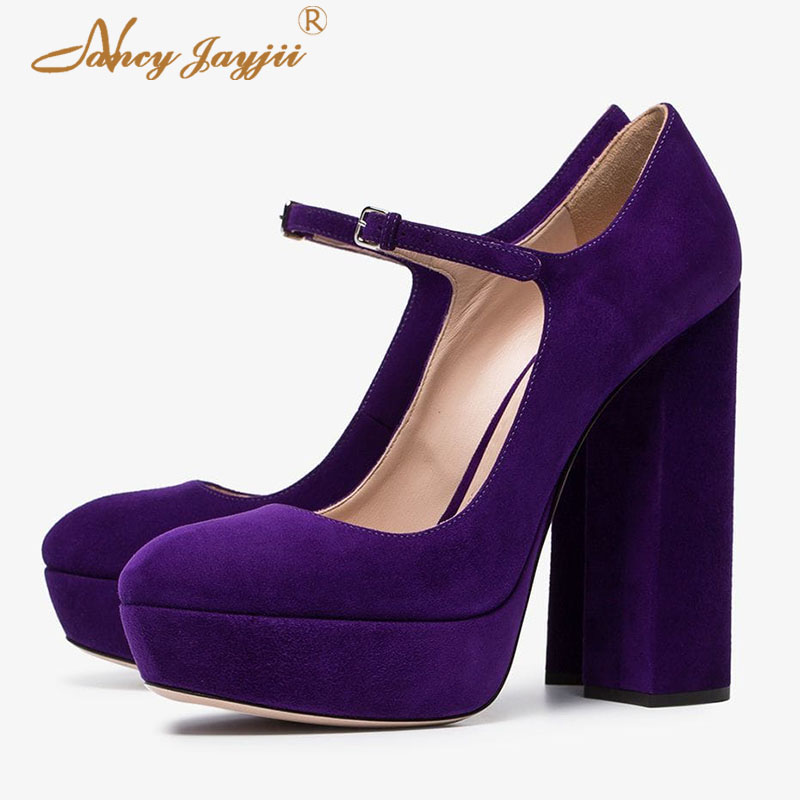 US $55.3 30% OFF|Womens Pumps Ladies Shoes Purple Platform Super High Heels Mary Janes Famous Footwear Mature Plus Size 44 45 Spring Summer 2019 in