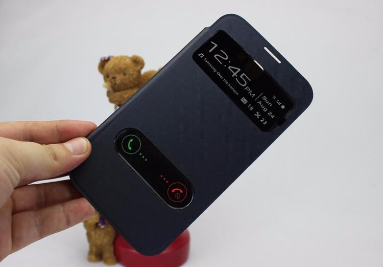 для samsung Galaxy Примечание 2 N7100 Примечание 2 n7108 вид презентация оболочки двойной открытое окно флип кожаный чехол батареи дело жилищного кобура