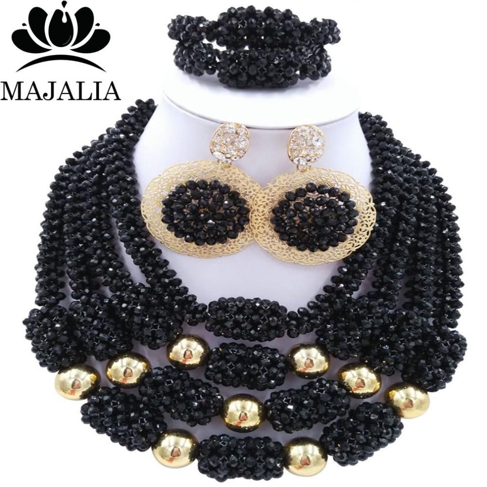 Trendy Nigeria Wedding black african beads jewelry set Crystal necklace bracelet earrings Free shipping Majalia-159 trendy nigeria wedding african beads jewelry set blue and yellow crystal necklace bracelet earrings free shipping vv 286