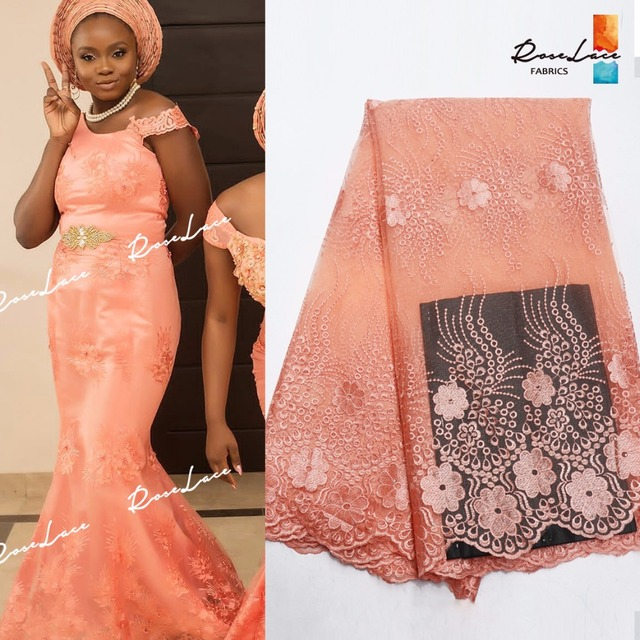 Peach Color Net Lace Fabric With Stones For Indian African Women Party  Bride Dress Sewing 2019 New Nigerian Embroidery Mesh Lace 98398f60bf5f