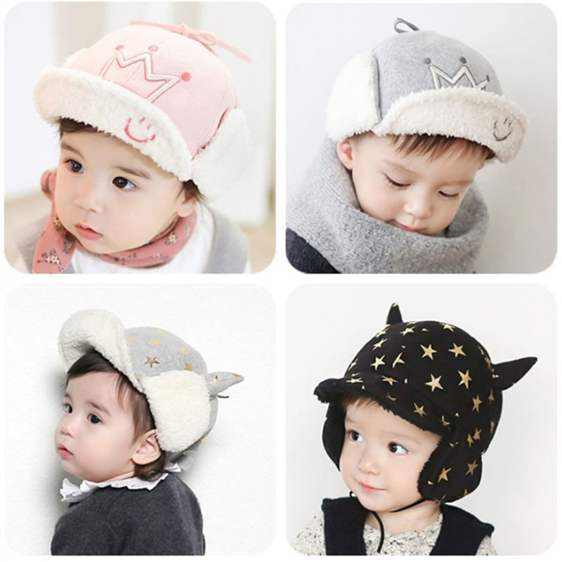 9 months to 4 years old baby baby boys and girls plus Ronglei Feng ear hats  baby warm winter bows Five pointed star crown 2mz13-in Hats   Caps from  Mother ... 8c2e2f581ca