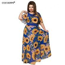 CACNCUT Women XL-6XL Plus Size Flower Print Chiffon Long Dresses Summer Elegant Big Large Size Maxi dress Evening Party Clothes