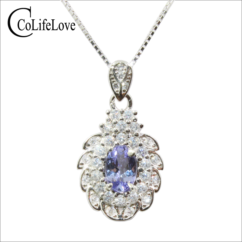Solid 925 sterling silver pendant with tanzanite 0.5 ct natural tanzanite pendant fashion tanzanite silver pendant for womanSolid 925 sterling silver pendant with tanzanite 0.5 ct natural tanzanite pendant fashion tanzanite silver pendant for woman