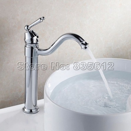 ФОТО Modern Chrome Deck Mounted Kitchen Sink Faucet Swivel Spout Basin Faucet Single Handle Wnf210