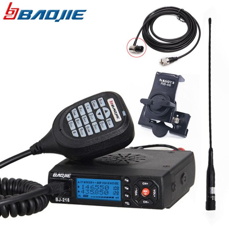 BAOJIE BJ-218 Mini Car Walkie Talkie 10KM 25W Dual Band VHF/UHF 136-174mhz 400-470mhz 128CH Mobile Radio Car Radio Transceiver