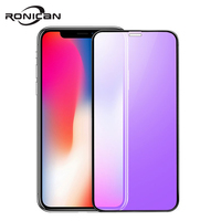 0.23mm 3D Curved Tempered Glass for iPhone X RONICAN Soft Edge High Definition Anti Blue Light Screen Protector for iPhone XS