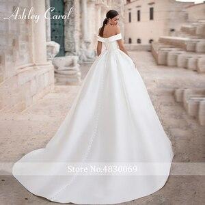 Image 2 - Ashley Carol A Line düğün elbisesi 2020 zarif yumuşak saten Cap Sleeve Lace Up düğmesi Sashes prenses gelin törenlerinde Vestido De Novia