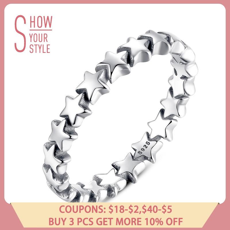 BAMOER Star Trail Stackable Finger Ring naisille Häät 100% 925 Sterling hopeakoruja 2018 HOT SELL PA7151