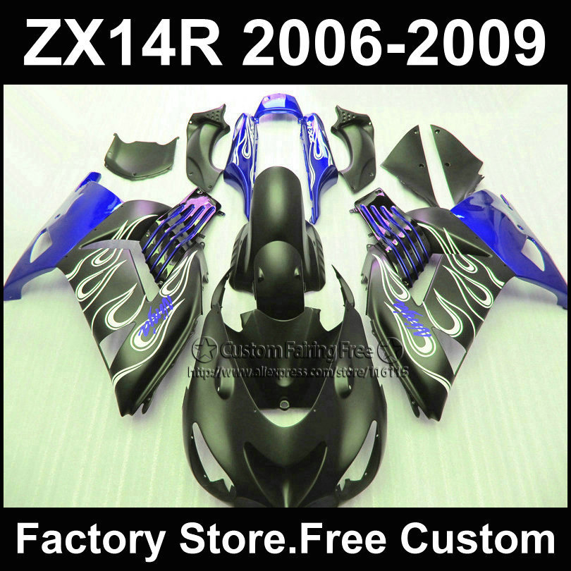 Motorcycle Injection fairing kit for Kawasaki 2006 2007 2008 2009 ZX14R Ninja ZX 14R 06-09 blue flat black custom fairings parts aftermarket free shipping motorcycle parts for motorcycle 2006 2007 2008 2009 kawasaki zx14 zx14r zx 14r axle caps covers chrome