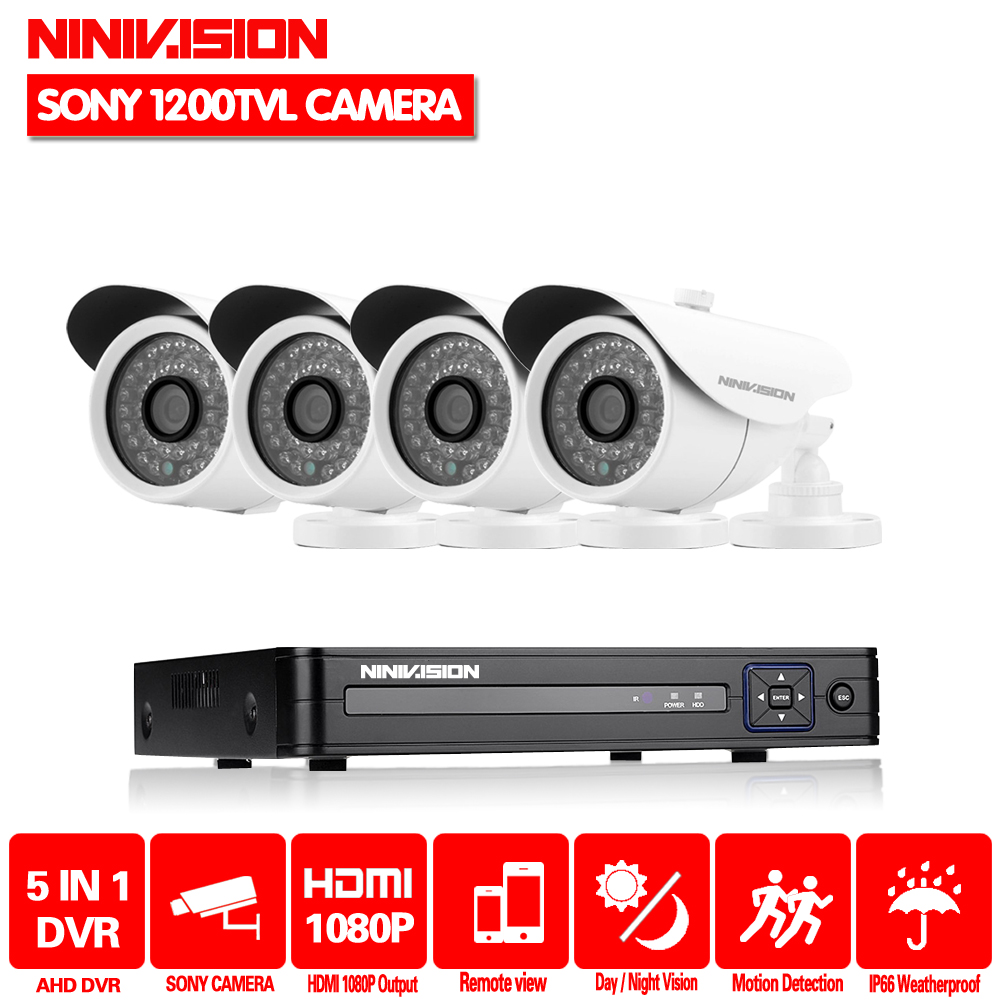 NINIVISION HD 1080P HDMI 4ch CCTV System 4 channel DVR KIT 720P Video Recorder with 1200TVL Security Camera Home Surveillance defeway 4ch 720p cctv system outdoor mini camera hd recorder 4ch hdmi p2p cctv dvr security home video surveillance hot sale
