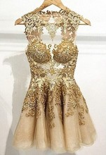 Fashionable 2015 Cocktail Dresses Gold Applique A Line Homecoming Dresses Crew Neck Sleeveless Zip Back Mini Short Prom Gowns 2015 zip