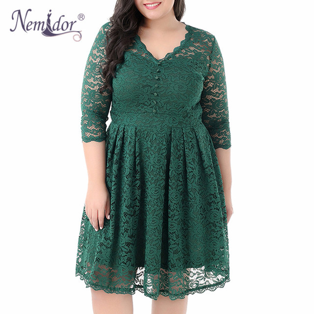 Women Elegant 3/4 Sleeve Midi Cocktail A-line Dress Sexy V-neck Party Plus Size 8XL 9XL Vintage Swing Lace Dress 1