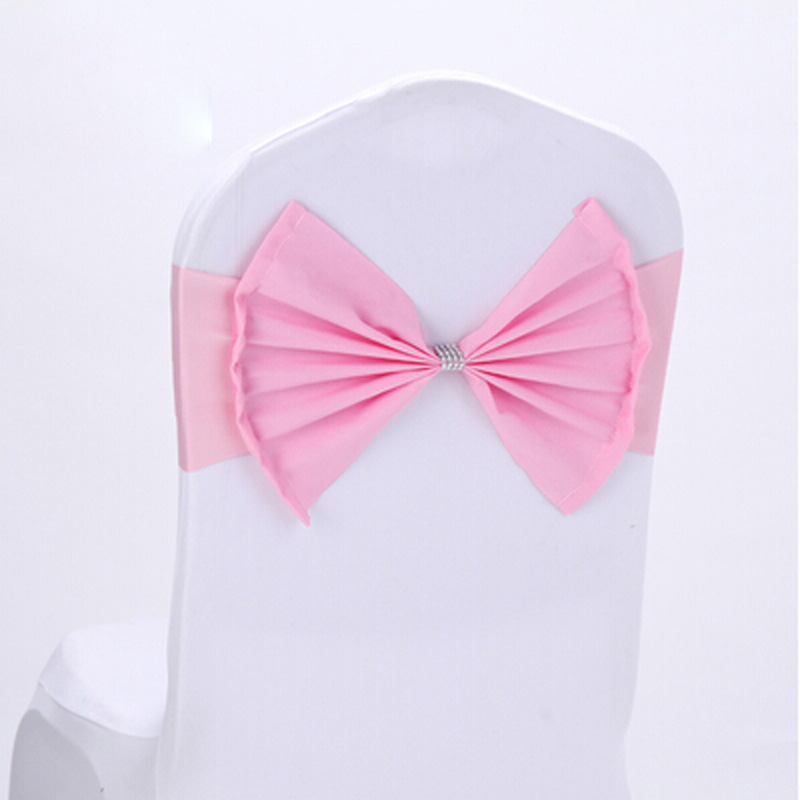20pcs/lot Pink/Wine Red Polyester Bow Tie Spandex Bands Wedding Party Decorative Chair Cover Sash Birthday Banquet Chair Decor