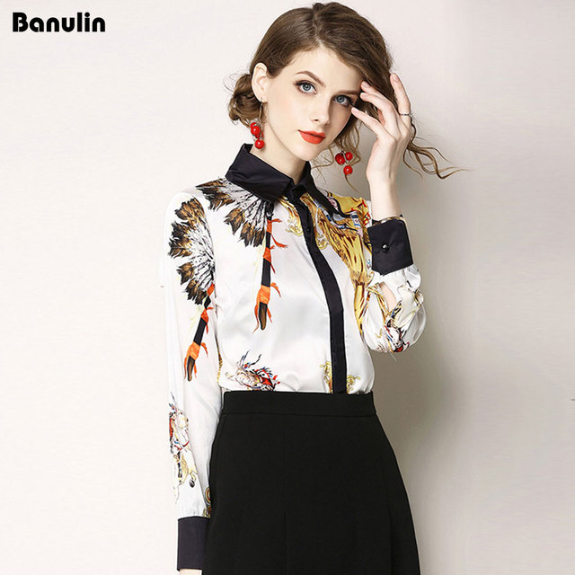 Banulin Female High Quality White Blouses Fashion Full Sleeve Luxury Tops 2018 Floral Print Turn-down Collar Runway Shirt