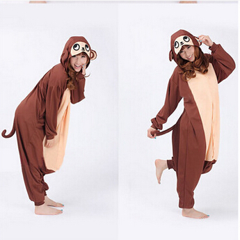 free PP Finnal Adult Cute Anime Onesies Hooded Baboon Monkey Pyjamas Cosplay Pajamas Halloween Animal Costume Animal Sleepwear