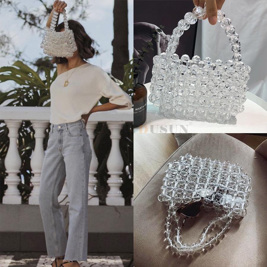 DUSUN Transparent Crystal Bag Designer Pearls Jelly Bag Clutch Clear Bag Crossbody Messengers Women Crystal Handbag Pouch Totes
