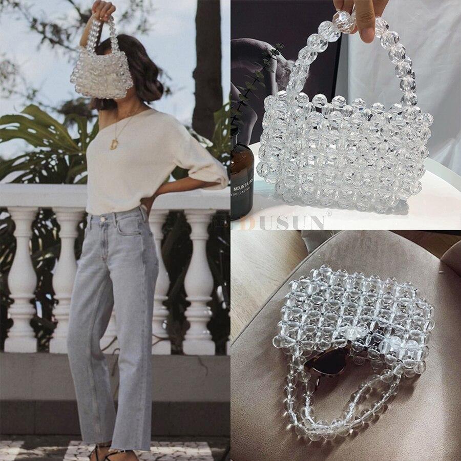 DUSUN sac cristal Transparent Designer perles gelée sac pochette sac Transparent bandoulière messagers femmes cristal sac à main pochette fourre-tout