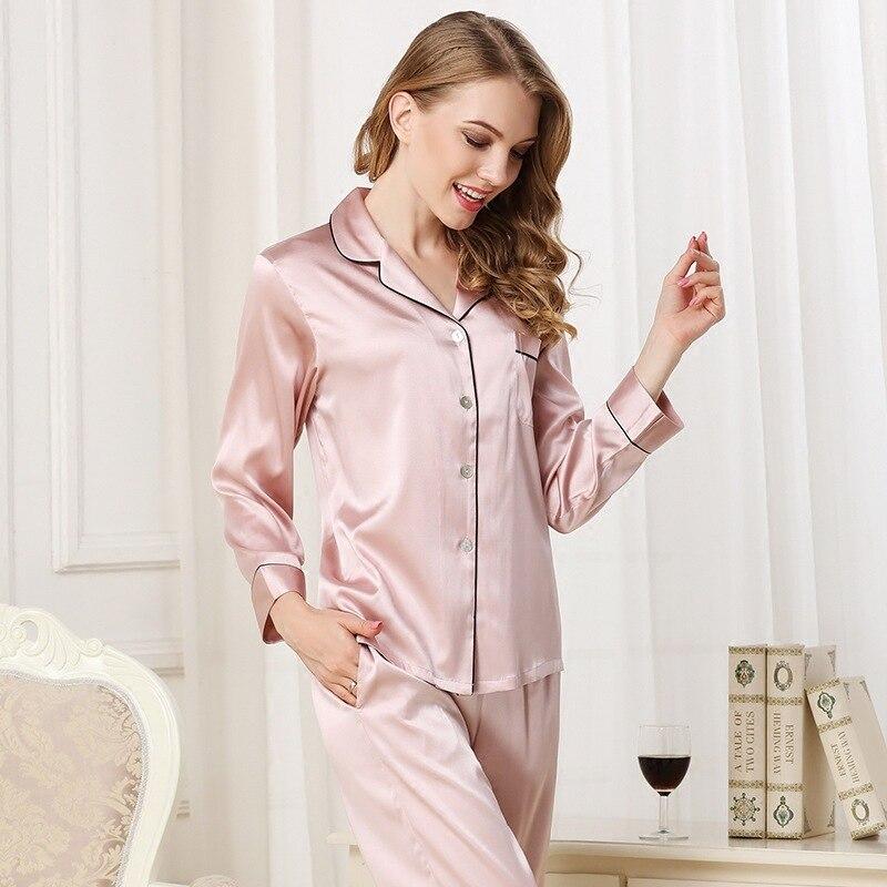 Высокая Класс натурального шелка Для женщин пижамы Демисезонный сексуальный атласный шелк с длинными рукавами пижамы Брюки для девочек На