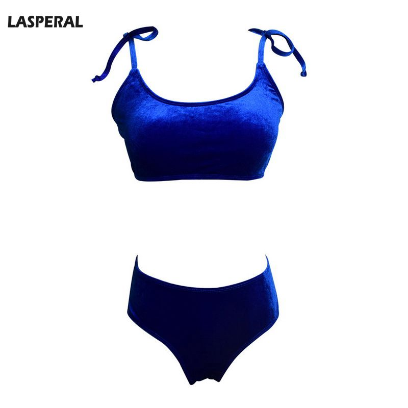 2ef411c11e LASPERAL Brand Bikini Women Bra Sets for Swimwear Top Velvet Lace up  Strapless High Waist Underwear Bathing Suits Sexy Bikinis-in Bra   Brief  Sets from ...