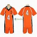 Haikyuu! No. 4 Nishinoya Yuu Jerseys Unisex Deportes camiseta Karasuno Secundaria Club Voleibol Uniforme de Cosplay del anime