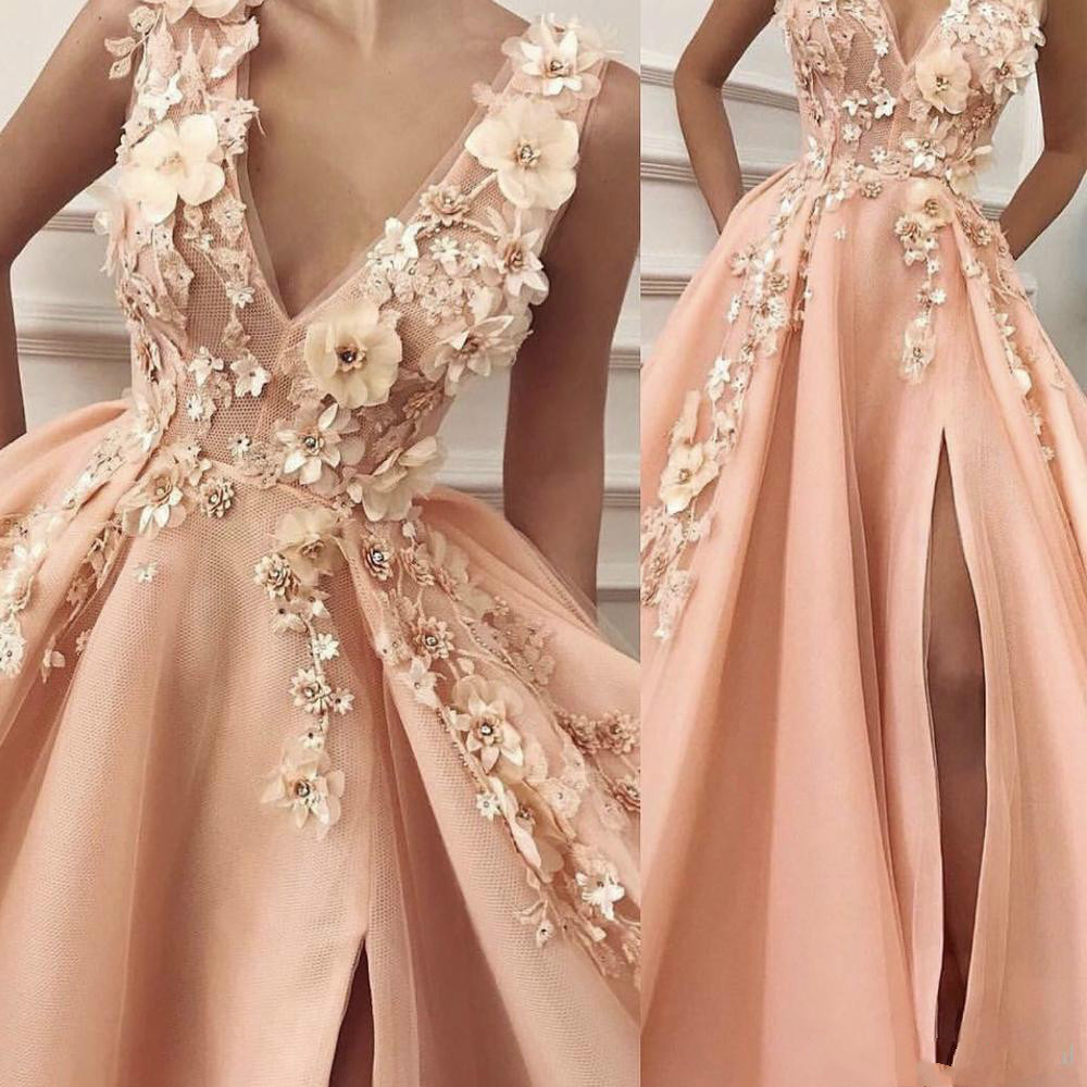 Peach Robe De Soiree 2019 Ball Gown V-neck Tulle Flowers Beaded Slit Sexy Long Party   Prom     Dresses     Prom   Gown Evening   Dresses