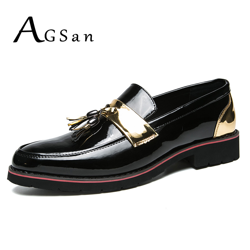 AGSan Silver Gold Men Loafers Luxury Brand Tassel Dress Shoes Pointed Toe Wedding Flats Big Size 38-45 10 Slip On Mens Loafers