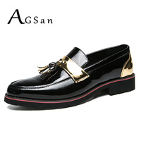 AGSan Silver Gold Men Loafers Luxury Brand Tassel Dress Shoes Pointed Toe Wedding Flats Big Size