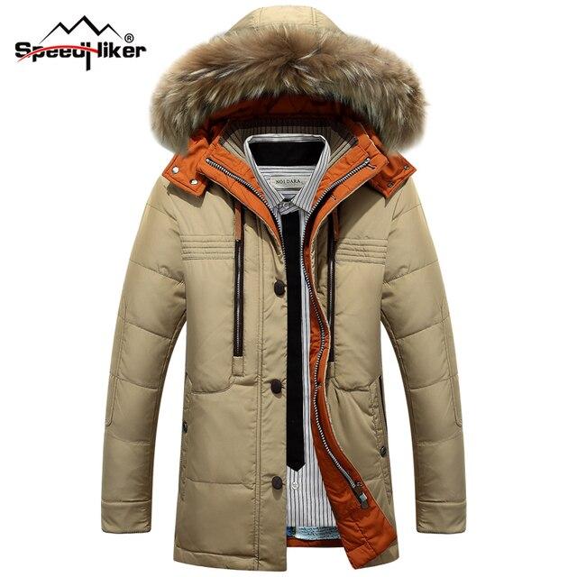 Speed Hiker 2016 Теплый Зимний Мужской Пуховик ,высокое качество ,Ультралегкий мужской пуховик ,пуховик на пуху белой утки ,пуховик с капюшоном K8071, Мужские плюс размер 3XL