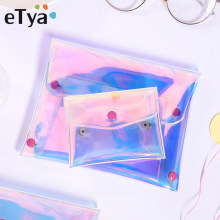 eTya Transparent Coin Purse Women Wallet Laser PVC Card Pencil Cosmetic Money Clutch Bag Case Female Mini Zipper Wallets Pouch(China)