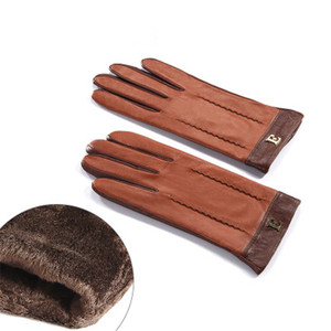 Image 5 - Yeni 2020 hakiki deri kadın eldiven kadın zarif iki ton koyun derisi eldiven sonbahar kış sıcak peluş kaplı 3326