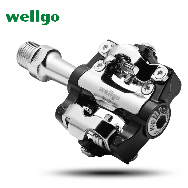 Wellgo M19 Aluminum Alloy MTB Mountain Bicycle Pedal Sealed Bearing Clipless pedal SPD Bike Pedals цена