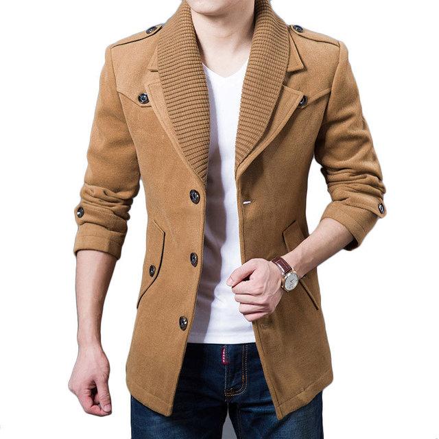 Mens casaco de Ervilha Casaco de inverno 2015 Novo Design de Moda Preto Exército Khaki verde Cinza Slim Fit Lã Mescla Trench Coat Jaqueta Casaco Da Marca