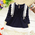 2016 New born summer & autumn baby girls cotton dress 9-24 months fashion Korean girls candy-colored cardigan flower lace dress