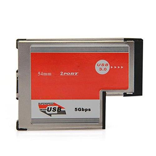 GTFS Hot 2 Port USB 3.0 ExpressCard Card ASM Chip 54 mm PCMCIA ExpressCard for Notebook